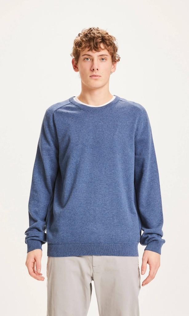 FIELD O-neck long stable cotton knit Dark Denim