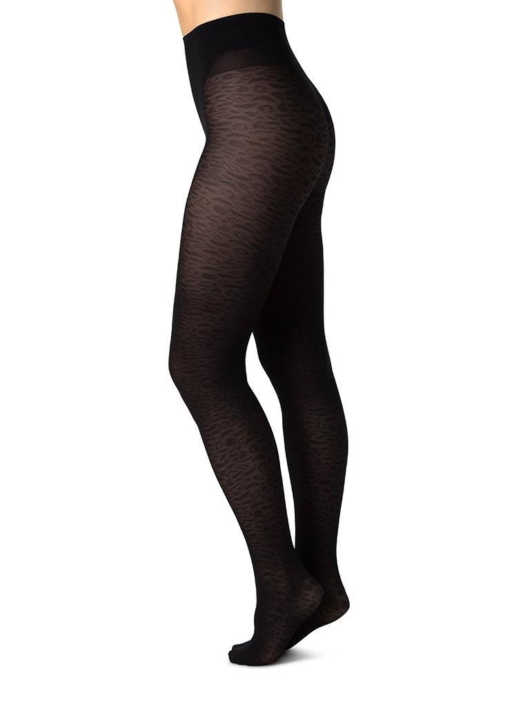 Emma Leopard Tights Black 60 den
