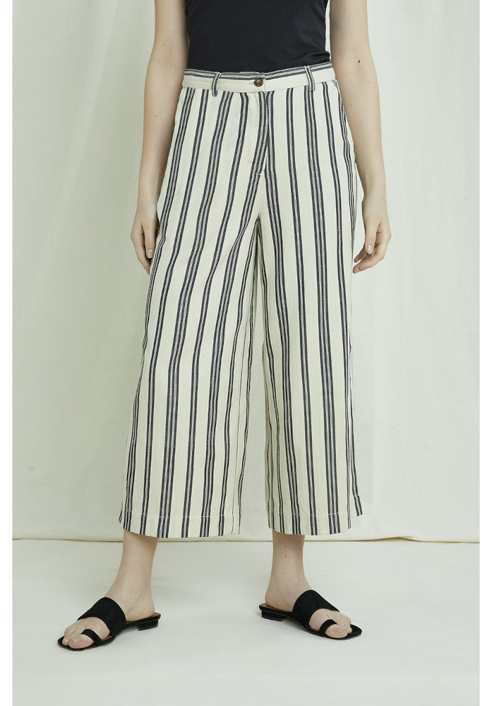 Shauna Striped Trousers Fog and Black Stripe