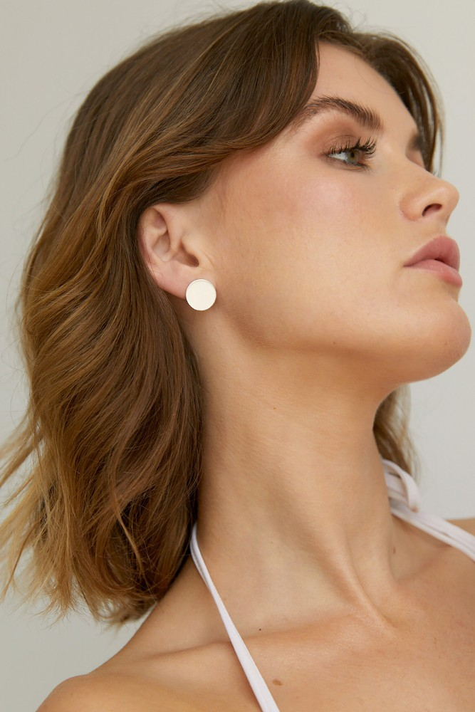 Simple Disc Studs Silver