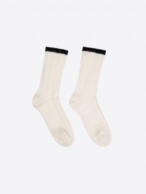 Rippenstrick-Socken GOTS off white